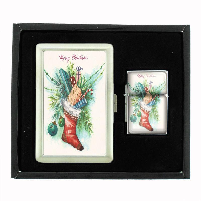 VINTAGE CHRISTMAS D21 CIGARETTE CASE / WALLET & LIGHTER GIFT SET OLD FASHIONED