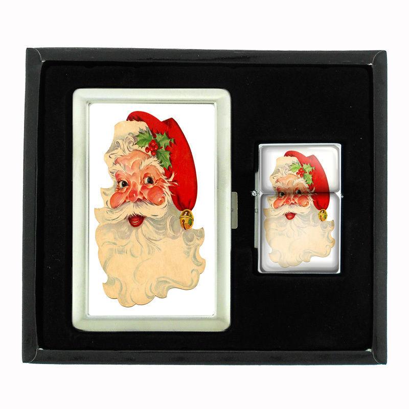 VINTAGE CHRISTMAS D7 CIGARETTE CASE / WALLET & LIGHTER GIFT SET OLD FASHIONED