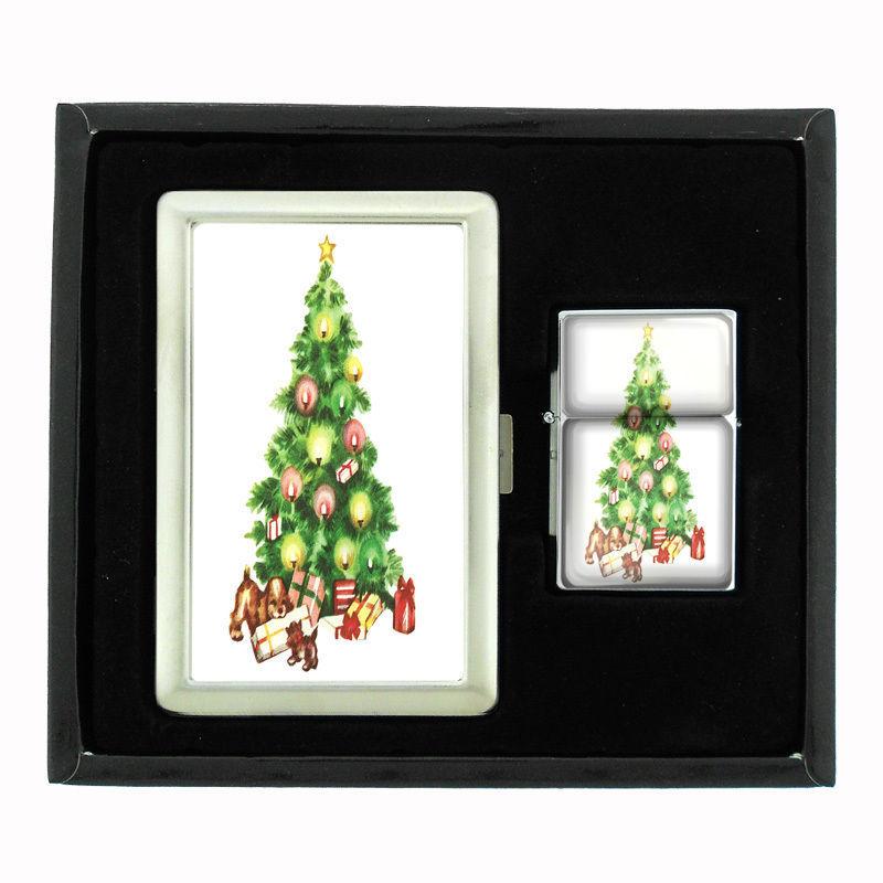 VINTAGE CHRISTMAS D17 CIGARETTE CASE / WALLET & LIGHTER GIFT SET OLD FASHIONED