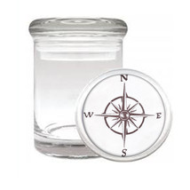 Vintage Compass D6 Odorless Air Tight Medical Glass Jar Container Nautical - $9.85