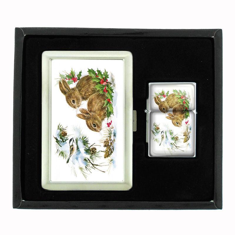 VINTAGE CHRISTMAS D9 CIGARETTE CASE / WALLET & LIGHTER GIFT SET OLD FASHIONED