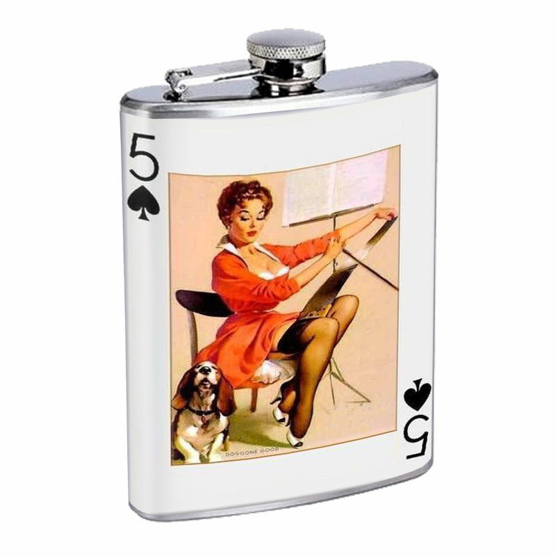 Vintage Playing Cards Hip Flask D15 8oz Stainless Steel Old Fashioned Retro