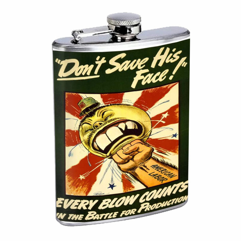 Vintage Propaganda Ad Hip Flask D3 8oz Stainless Steel Political Advertistment