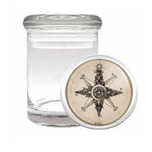 Vintage Compass D8 Odorless Air Tight Medical Glass Jar Container Nautical - $12.95