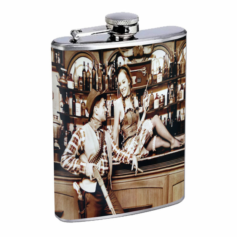 Vintage Saloon Ladies D3 8oz Hip Flask Stainless Steel Sexy Gal Hot Babe