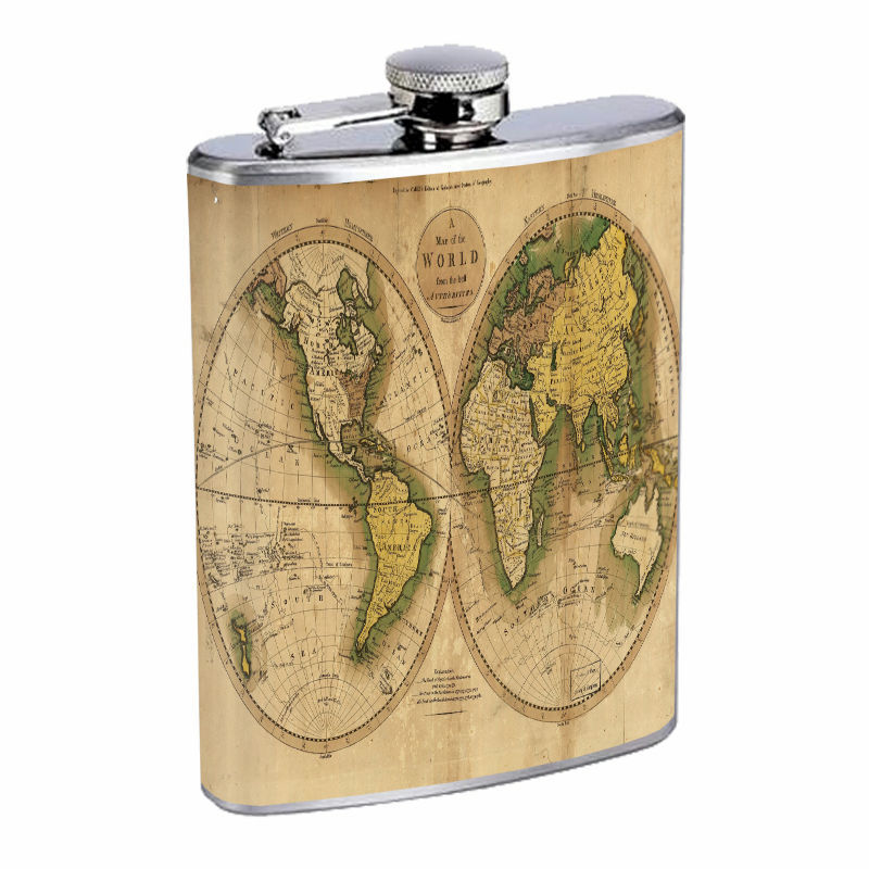 Vintage World Maps D8 8oz Hip Flask Stainless Steel Travel Countries
