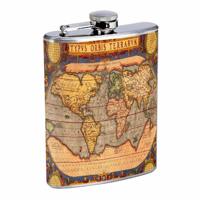 Vintage World Maps D5 8oz Hip Flask Stainless Steel Travel Countries
