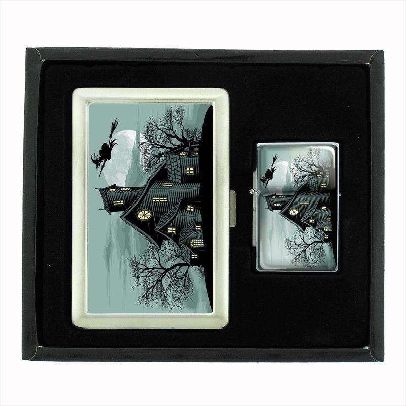 VINTAGE HALLOWEEN D21 CIGARETTE CASE / WALLET & LIGHTER GIFT SET OLD FASHIONED