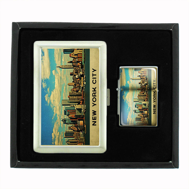 VINTAGE NEW YORK D12 CIGARETTE CASE / WALLET & LIGHTER GIFT SET OLD FASHIONED