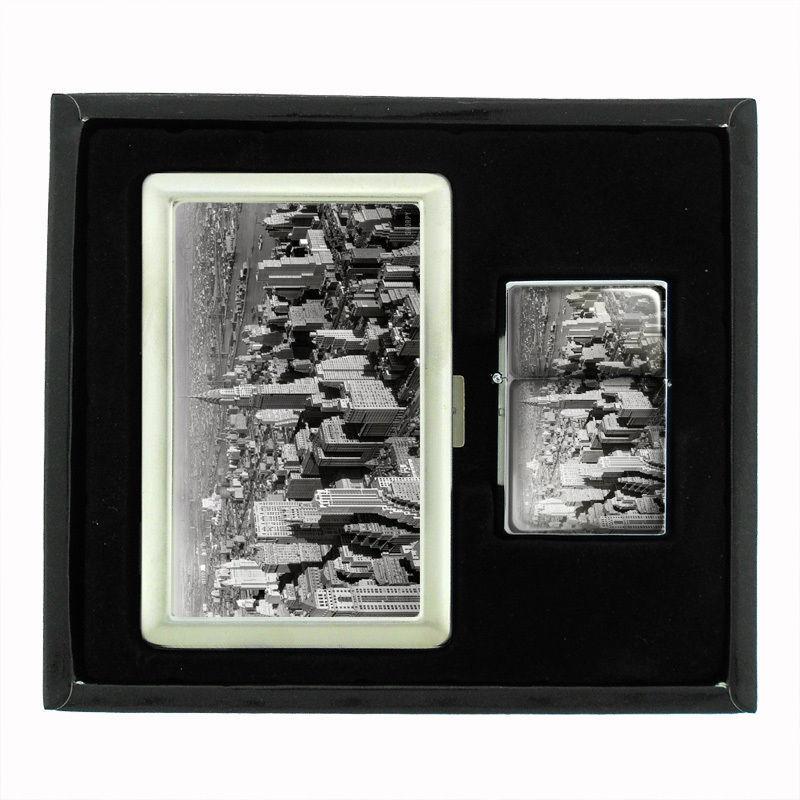 VINTAGE NEW YORK D5 CIGARETTE CASE / WALLET & LIGHTER GIFT SET OLD FASHIONED