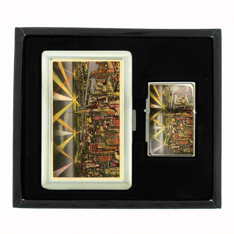 VINTAGE NEW YORK D9 CIGARETTE CASE / WALLET & LIGHTER GIFT SET OLD FASHIONED
