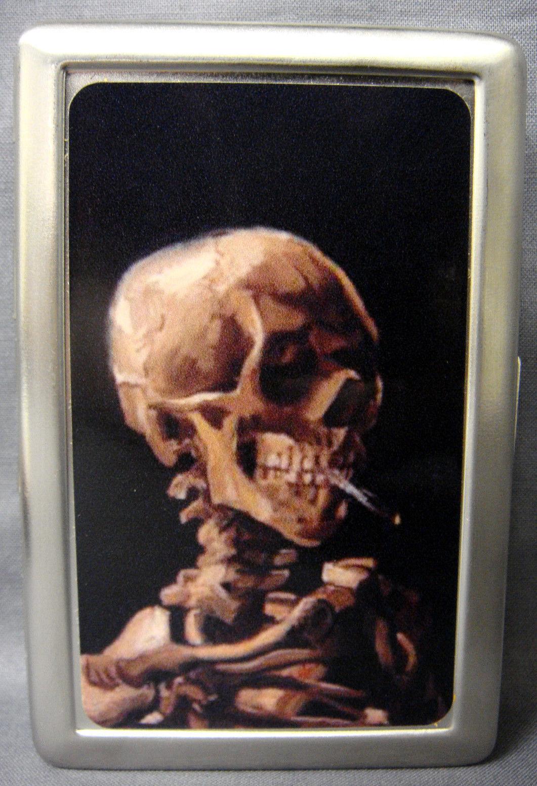 Van Gogh 02 Smoking Skull Metal Silver Cigarette Case
