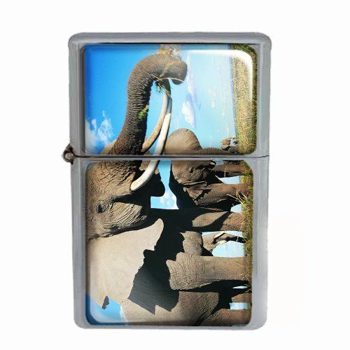 Windproof Dual Flame Torch Lighter Elephant Design 07 Animal Nature Wildlife