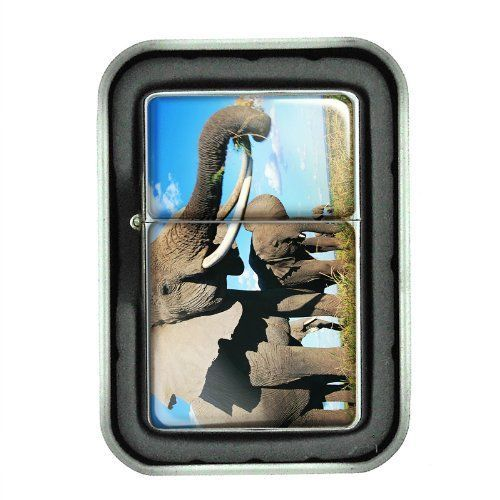Windproof Oil Lighter with Gift Box Elephant Design 07 Animal Nature Wildlife