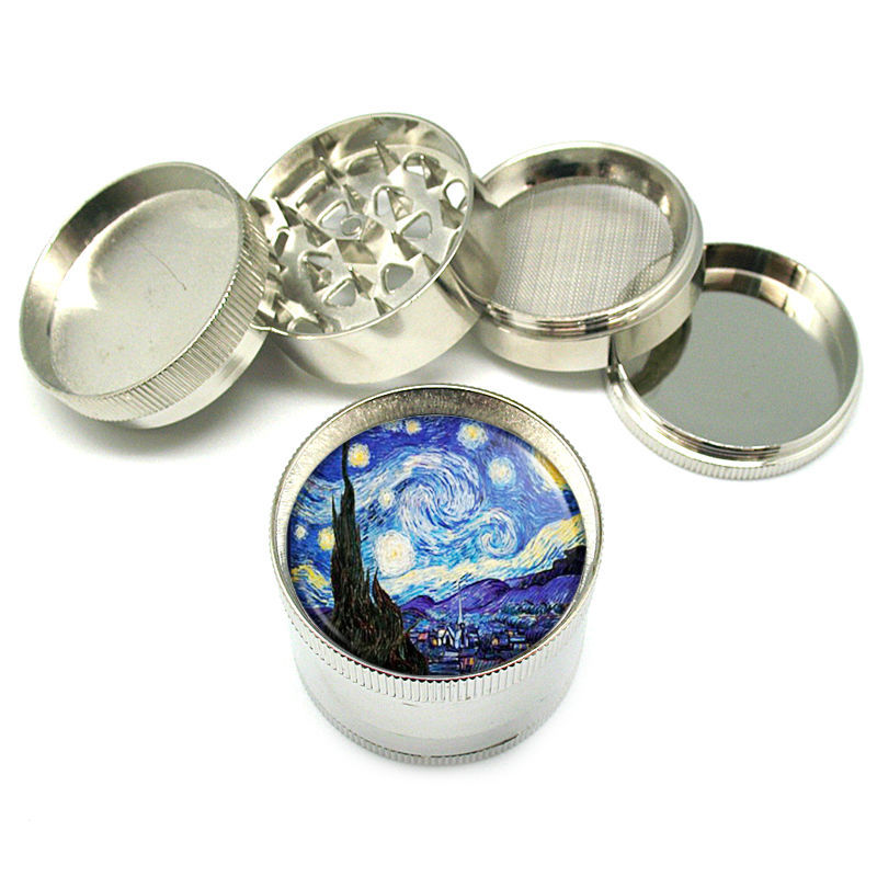 "Vincent Van Gogh Starry Night Metal Grinder 4 PC 2"" D-141"