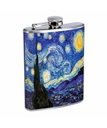 Vincent Van Gogh Starry Night Flask D141 8oz Stainless Sun Stars Hilltop... - $13.81