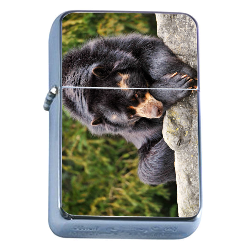 Windproof Refillable Flip Top Oil Lighter Bears D5 Nature Grizzly Forest Wild