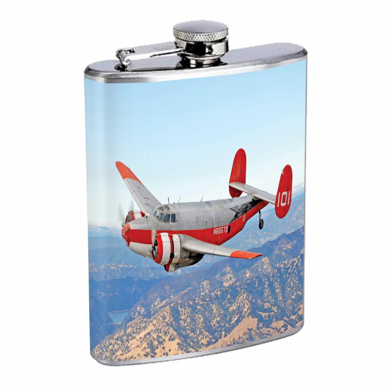 Vintage Airplane D7 8oz Hip Flask Stainless Steel Retro Classic Aircraft