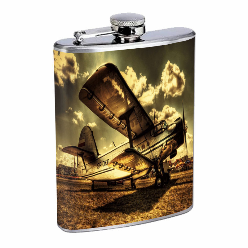 Vintage Airplane D14 8oz Hip Flask Stainless Steel Retro Classic Aircraft