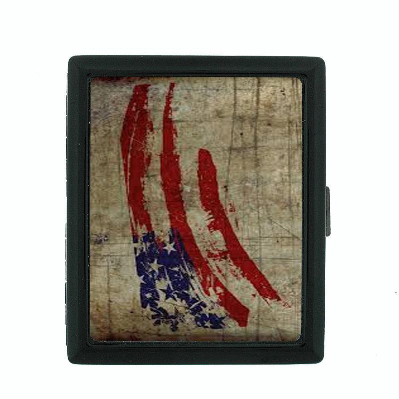 Vintage American Flag D2 Regular Black Cigarette Case / Metal Wallet Patriotic