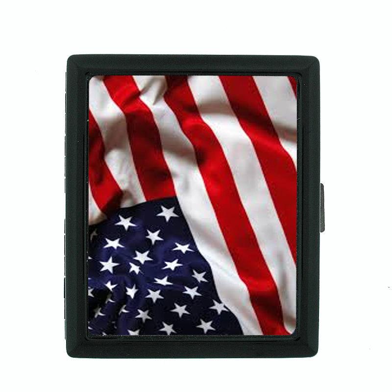 Vintage American Flag D4 Regular Black Cigarette Case / Metal Wallet Patriotic