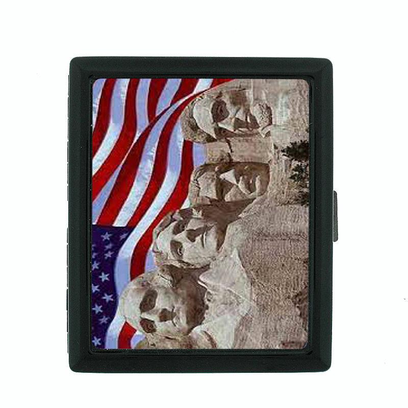 Vintage American Flag D9 Regular Black Cigarette Case / Metal Wallet USA Pride
