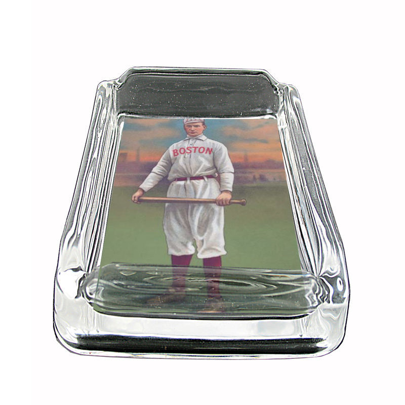 "Vintage Baseball D15 Glass Square Ashtray 4"" x 3"" Sports Baseball Player"