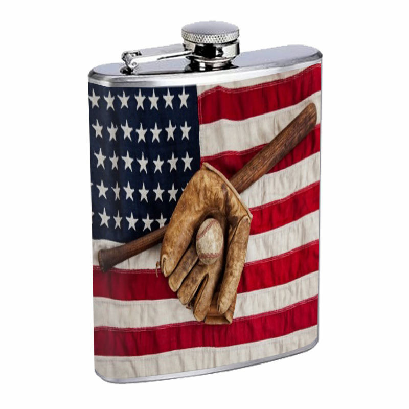 Vintage Baseball D2 8oz Hip Flask Stainless Steel Sports Baseball Player