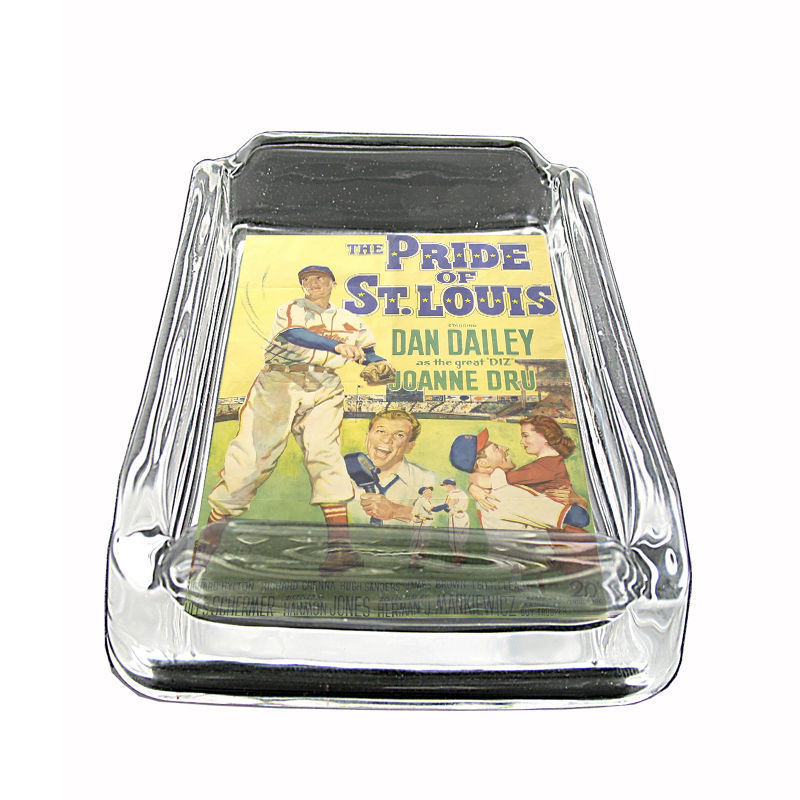 "Vintage Baseball D8 Glass Square Ashtray 4"" x 3"" Sports Baseball Player"