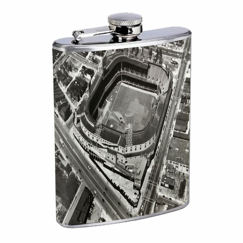 Vintage Baseball Stadium D3 8oz Hip Flask Stainless Steel Retro Legendary
