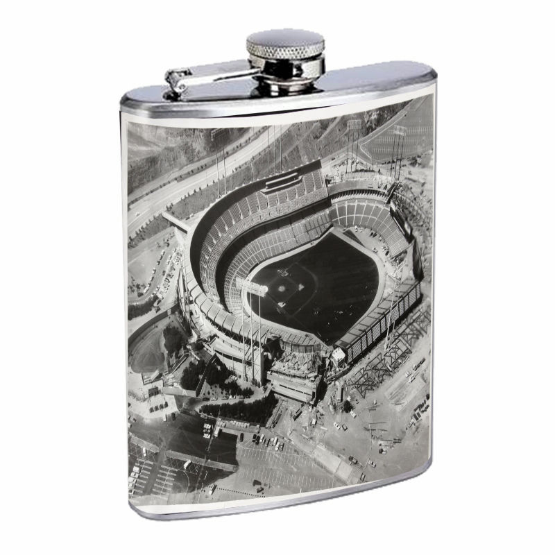 Vintage Baseball Stadium D8 8oz Hip Flask Stainless Steel Retro Legendary