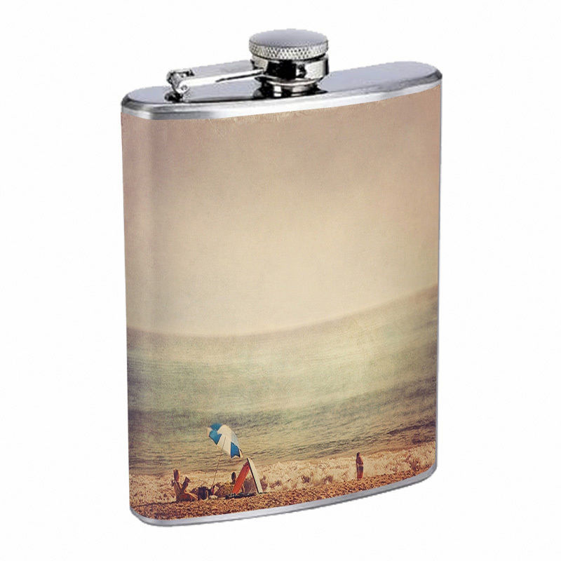 Vintage Beach Silver Hip Flask D2 8oz Stainless Steel Old Fashioned Retro