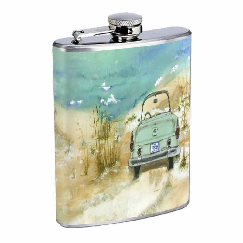 Vintage Beach Silver Hip Flask D7 8oz Stainless Steel Old Fashioned Retro