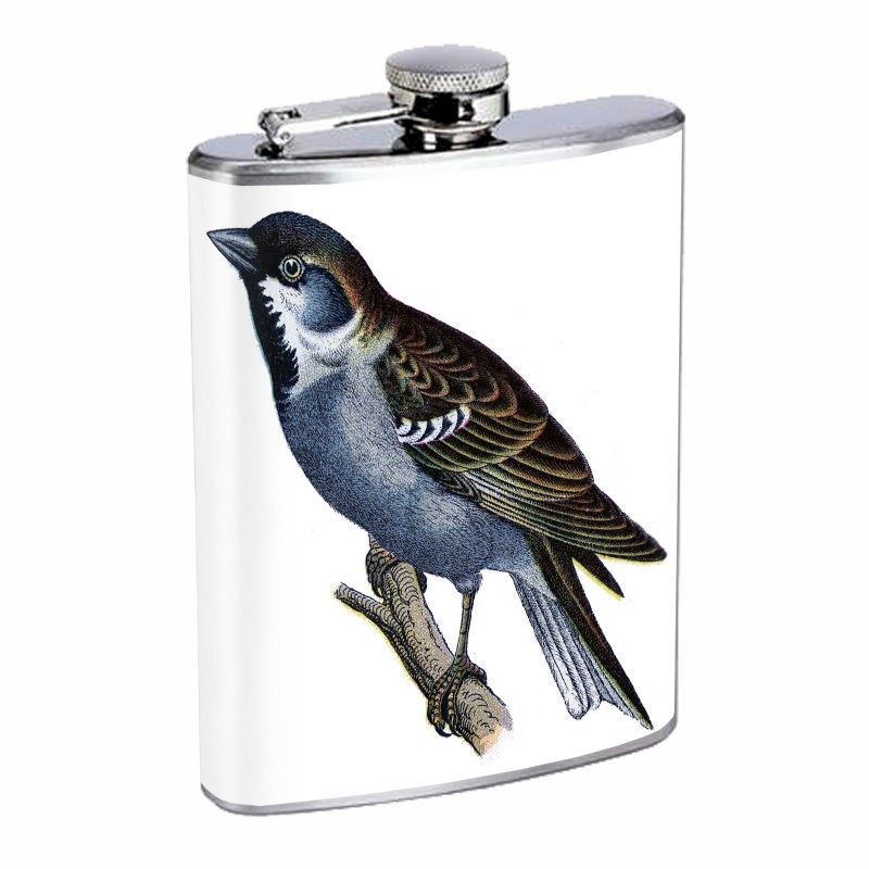 Vintage Birds Silver Hip Flask D7 8oz Stainless Steel Old Fashioned Retro