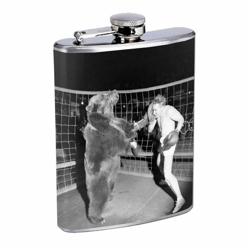 Vintage Boxing D8 8oz Hip Flask Stainless Steel Sports Boxer Knockout Gloves