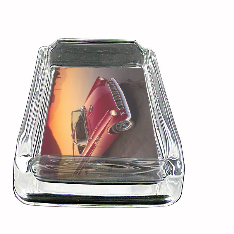 "Vintage Car Glass Ashtray D7 4""x3"" Classic Automobile Antique Stylish Collectibl"