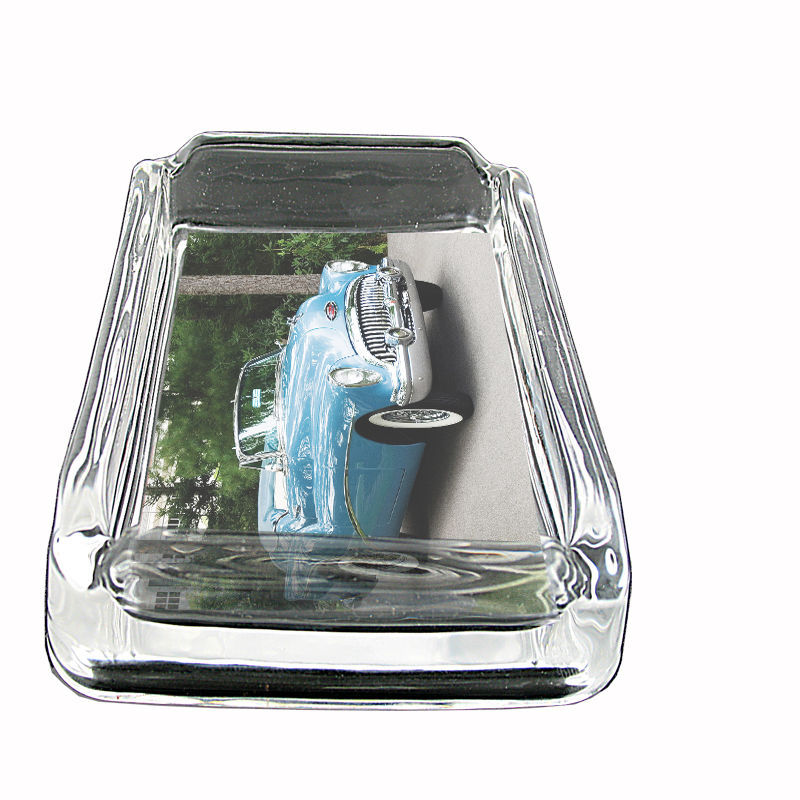 "Vintage Car Glass Ashtray D8 4""x3"" Classic Automobile Antique Stylish Collectibl"