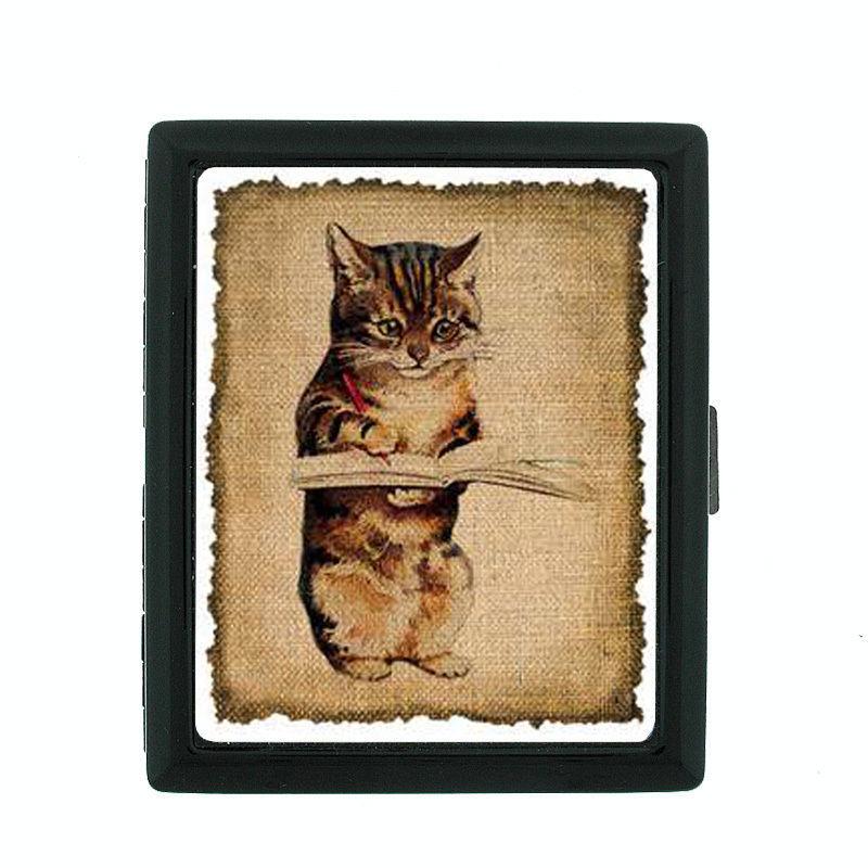 Vintage Cat D18 Regular Black Cigarette Case / Metal Wallet Old Fashioned Image