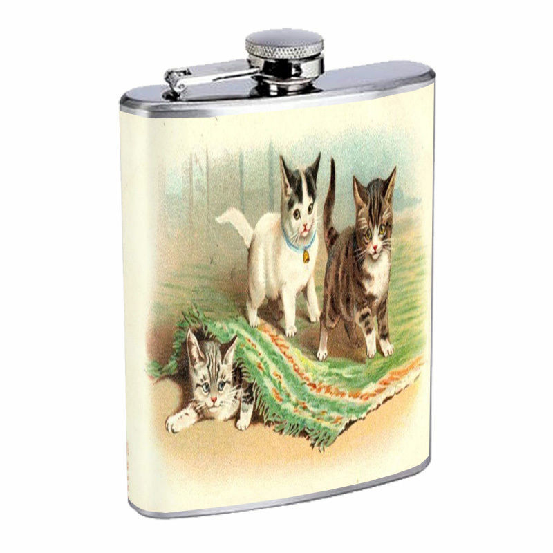Vintage Cat Hip Flask D12 8oz Stainless Steel Collectible Old Fashioned Image