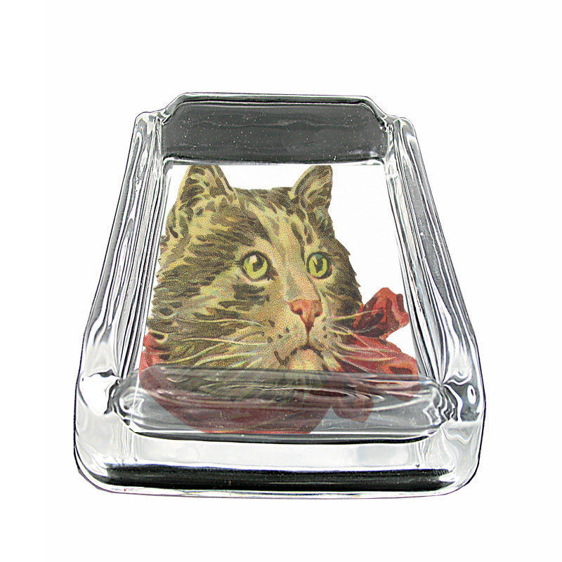 "Vintage Cat D9 Glass Ashtray 4""x3"" Old Fashioned Classic Retro Image Cute Funny"