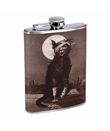 Vintage Cat Hip Flask D15 8oz Stainless Steel Collectible Old Fashioned ... - $12.82