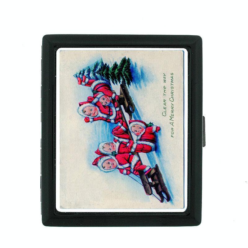 Vintage Christmas D10 Regular Black Cigarette Case / Metal Wallet Old Fashioned