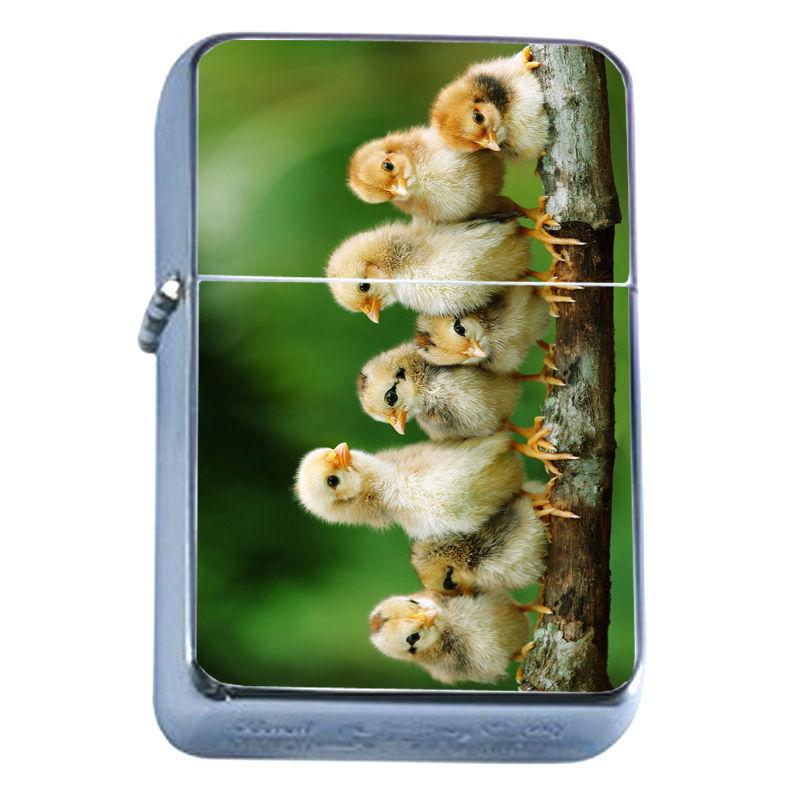 Windproof Refillable Flip Top Oil Lighter Chicken D6 Adorable Fluffly Chicks