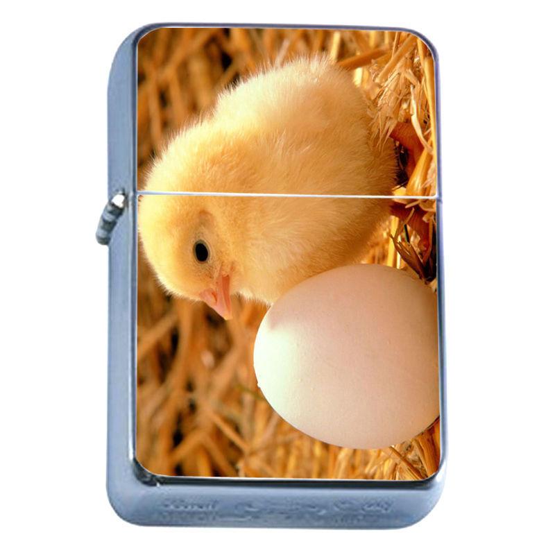 Windproof Refillable Flip Top Oil Lighter Chicken D1 Adorable Fluffly Chicks