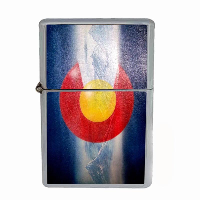 Windproof Refillable Flip Top Oil Lighter Colorado Flag D8 420 State Denver