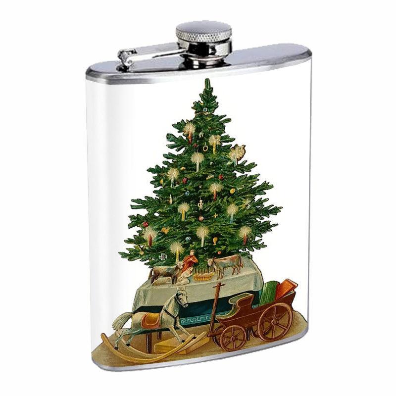 Vintage Christmas Hip Flask D11 8oz Stainless Steel Santa Claus Snowman Tree