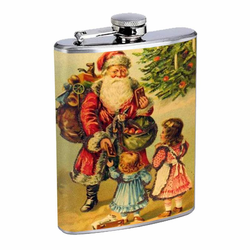 Vintage Christmas Hip Flask D5 8oz Stainless Steel Santa Claus Snowman Tree