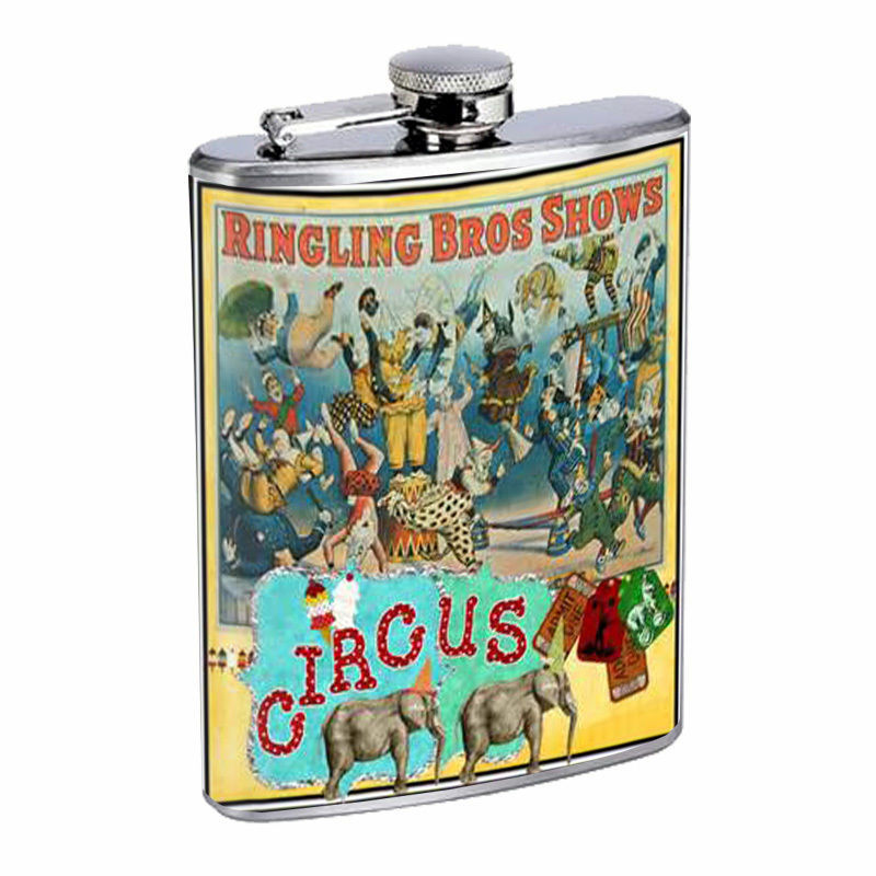 Vintage Circus Silver Hip Flask D2 8oz Stainless Steel Old Fashioned Retro