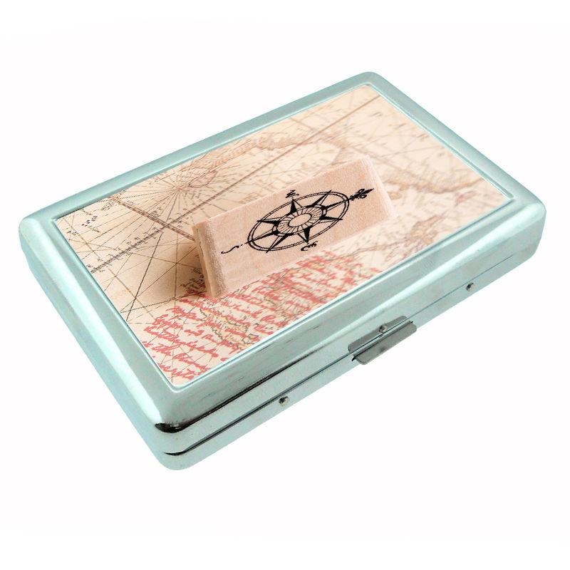 Vintage Compass D2 Silver Cigarette Case / Metal Wallet Nautical Navigation