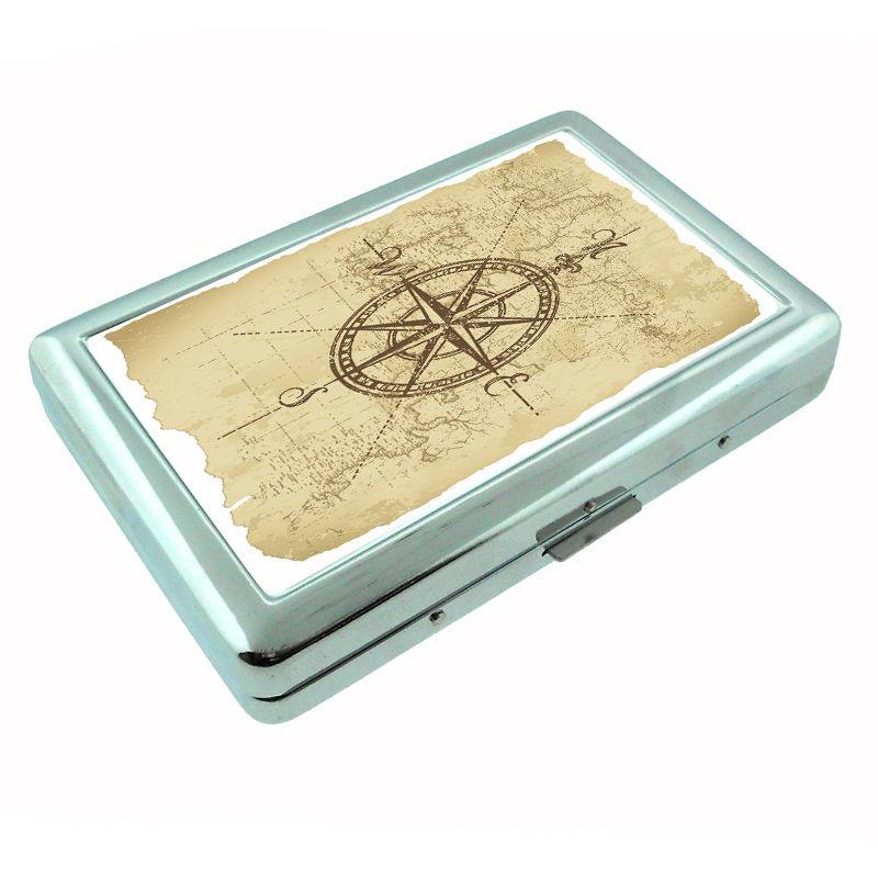 Vintage Compass D3 Silver Cigarette Case / Metal Wallet Nautical Navigation